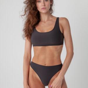 Bikini-Top in Sportoptik schwarz
