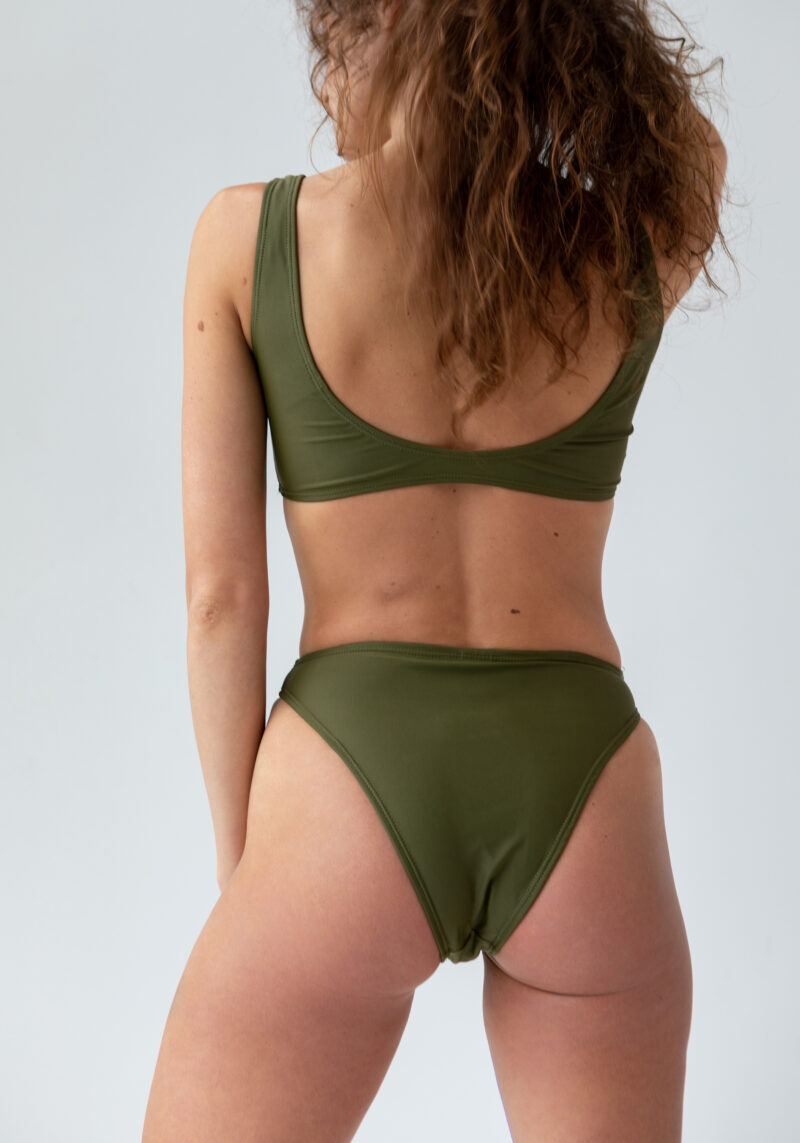 Bikini-Top in Sportoptik khaki